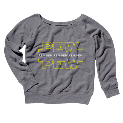 Pew Pew Women's Off The Shoulder Sweatshirt-Grey TriBlend - Famous IRL