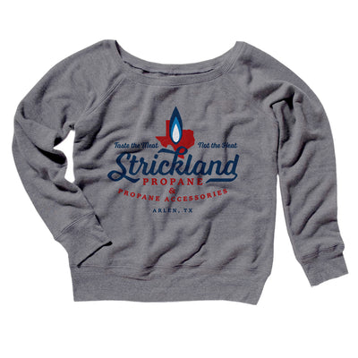 Strickland Propane Women's Off The Shoulder Sweatshirt-Grey TriBlend - Famous IRL