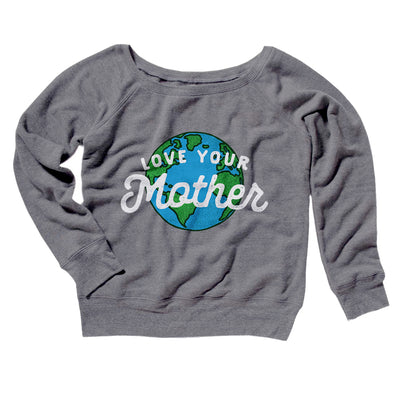 Love Your Mother Earth Women's Off The Shoulder Sweatshirt-Grey TriBlend - Famous IRL