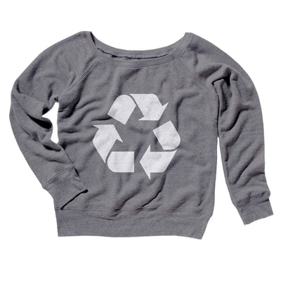 Recycle Symbol Women's Off The Shoulder Sweatshirt-Grey TriBlend - Famous IRL
