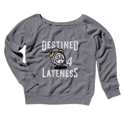 Destined for Lateness Women's Off The Shoulder Sweatshirt-Grey TriBlend - Famous IRL