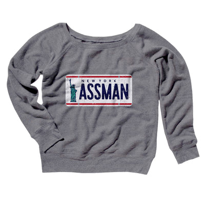 Assman Women's Off The Shoulder Sweatshirt-Grey TriBlend - Famous IRL