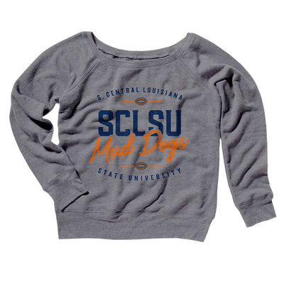 SCLSU Mud Dogs Football Women's Off The Shoulder Sweatshirt-Grey TriBlend - Famous IRL