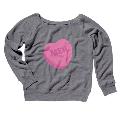 Meh. Candy Heart Women's Off The Shoulder Sweatshirt-Grey TriBlend - Famous IRL