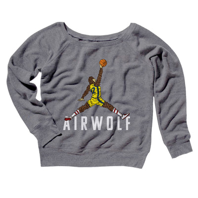 Air Wolf Women's Off The Shoulder Sweatshirt-Grey TriBlend - Famous IRL