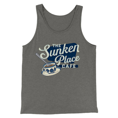 The Sunken Place Cafe Men/Unisex Tank-Tank Top-Printify-Grey TriBlend-S-Famous IRL