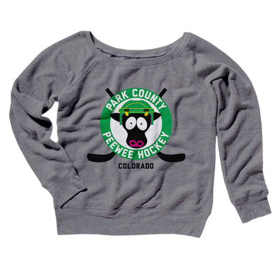 Park County Peewee Hockey Women's Off The Shoulder Sweatshirt-Grey TriBlend - Famous IRL