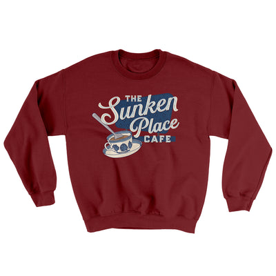 The Sunken Place Cafe Ugly Sweater-Sweatshirt-Printify-Garnet-S-Famous IRL