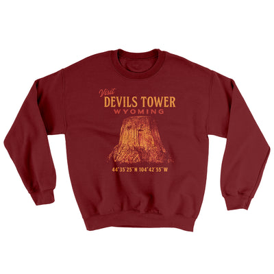 Visit Devils Tower Ugly Sweater-Sweatshirt-Printify-Garnet-S-Famous IRL