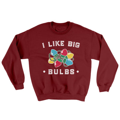 I Like Big Bulbs Men/Unisex Ugly Sweater-Garnet - Famous IRL