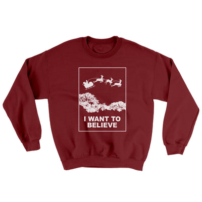 I Want to Believe Men/Unisex Ugly Sweater-Garnet - Famous IRL