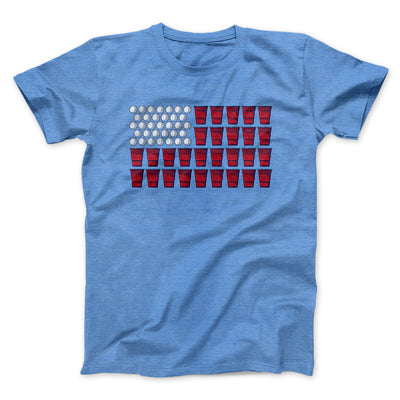 Beer Pong American Flag Men/Unisex T-Shirt-T-Shirt-Printify-Heather Columbia Blue-L-Famous IRL