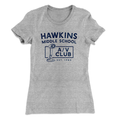 Hawkins Middle School A/V Club Women's T-Shirt-90/10 Heather Gray - Famous IRL