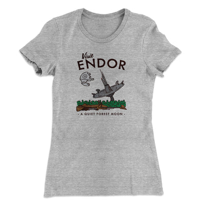 Visit Endor Women's T-Shirt-90/10 Heather Gray - Famous IRL