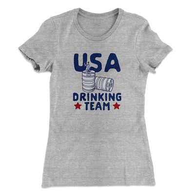 USA Drinking Team Women's T-Shirt-90/10 Heather Gray - Famous IRL