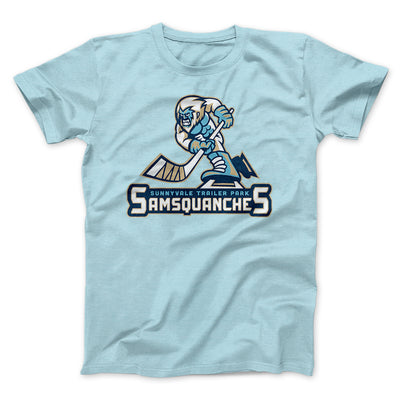 Sunnyvale Samsquanches Men/Unisex T-Shirt-Heather Ice Blue - Famous IRL