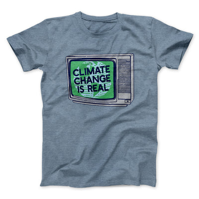 PSA: Climate Change is Real Men/Unisex T-Shirt-Heather Slate - Famous IRL
