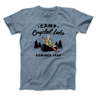 Camp Crystal Lake Men/Unisex T-Shirt-Heather Slate - Famous IRL