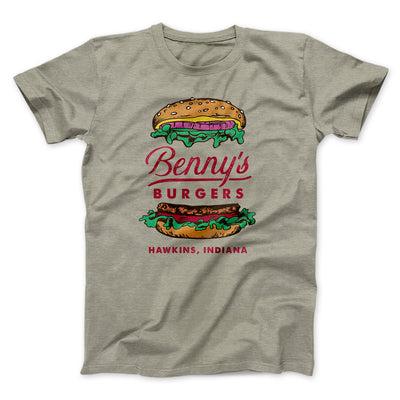 Benny's Burgers Men/Unisex T-Shirt-Heather Stone - Famous IRL