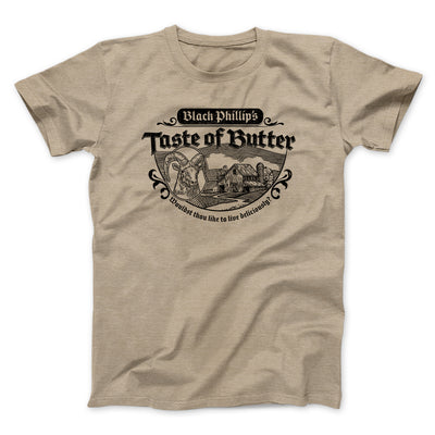 Black Phillip's Taste Of Butter Men/Unisex T-Shirt-T-Shirt-Printify-Heather Tan-S-Famous IRL