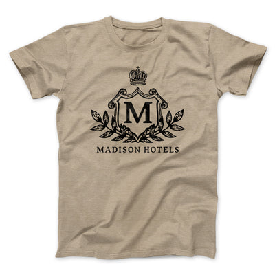 Madison Hotels Men/Unisex T-Shirt-T-Shirt-Printify-Heather Tan-S-Famous IRL