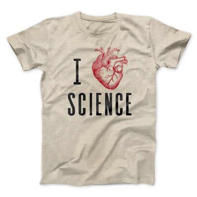 I Heart Science Men/Unisex T-Shirt-Heather Tan - Famous IRL