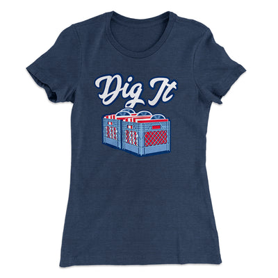 Dig It - Record Crate Women's T-Shirt-Solid Indigo - Famous IRL
