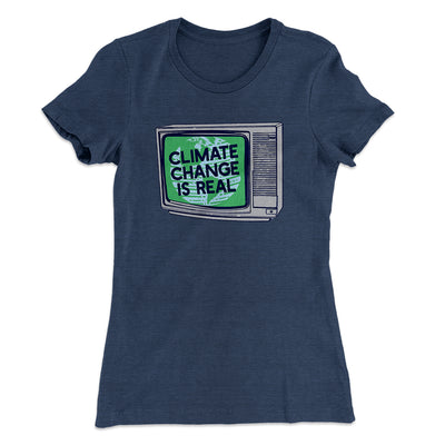 PSA: Climate Change is Real Women's T-Shirt-Solid Indigo - Famous IRL