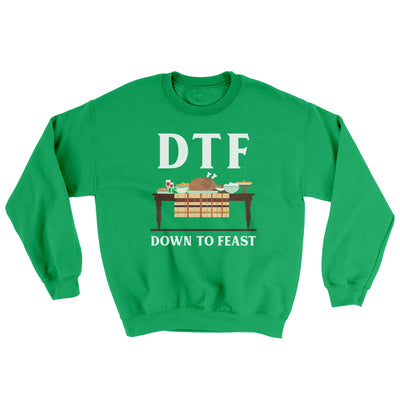 DTF: Down To Feast Ugly Sweater-Ugly Sweater-White Label DTG-Irish Green-S-Famous IRL