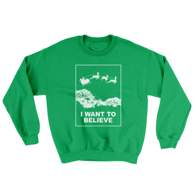 I Want to Believe Men/Unisex Ugly Sweater-Irish Green - Famous IRL