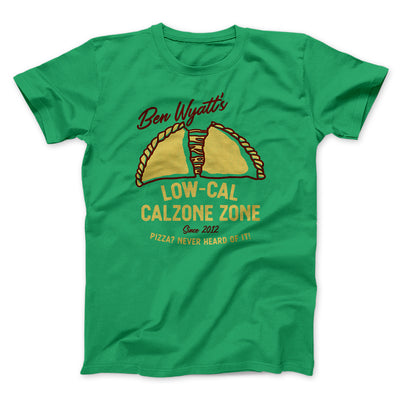 Ben Wyatt's Low Cal Calzone Zone Men/Unisex T-Shirt-Kelly - Famous IRL