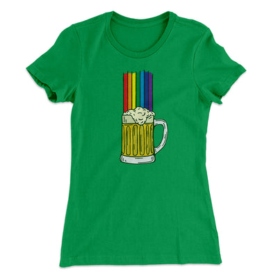 Beer Rainbow Women's T-Shirt-Women's T-Shirt-White Label DTG-Kelly Green-L-Famous IRL