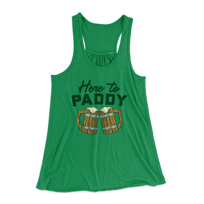 Here to Paddy Women's Flowey Racerback Tank Top-Kelly - Famous IRL