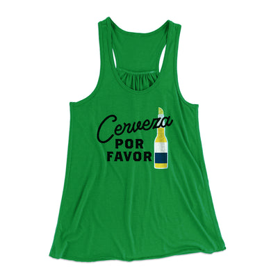 Cerveza, Por Favor Women's Flowey Tank Top-Women's Flowey Racerback Tank Top-White Label DTG-Kelly Green-XS-Famous IRL