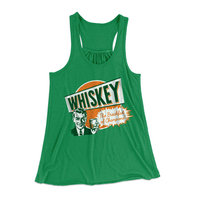 Whiskey - Breakfast of Champions Women's Flowey Racerback Tank Top-Kelly - Famous IRL