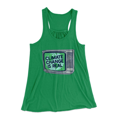 PSA: Climate Change is Real Women's Flowey Racerback Tank Top-Kelly - Famous IRL