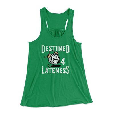 Destined for Lateness Women's Flowey Racerback Tank Top-Kelly - Famous IRL