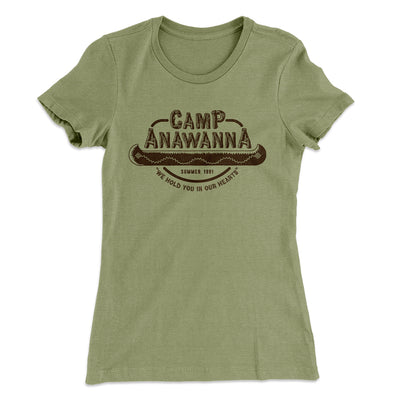 Camp Anawanna Women's T-Shirt-Solid Light Olive - Famous IRL