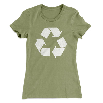 Recycle Symbol Women's T-Shirt-Solid Light Olive - Famous IRL