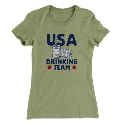 USA Drinking Team Women's T-Shirt-Solid Light Olive - Famous IRL