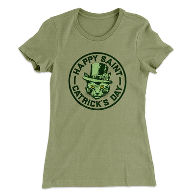 Happy Saint Catrick's Day Women's T-Shirt-Solid Light Olive - Famous IRL