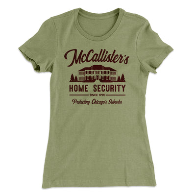 McCallister's Home Security Women's T-Shirt-Solid Light Olive - Famous IRL