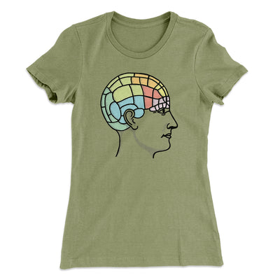Phrenology Chart Women's T-Shirt-Solid Light Olive - Famous IRL