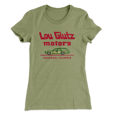 Lou Glutz Motors Women's T-Shirt-Solid Light Olive - Famous IRL