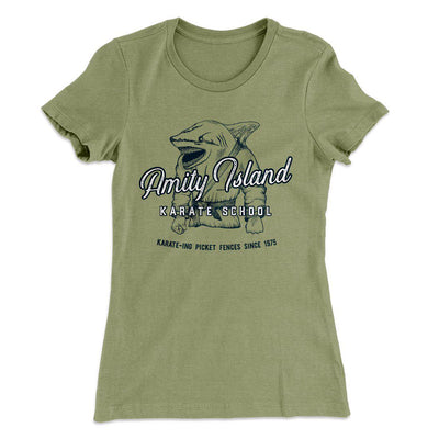 Amity Island Karate School Women's T-Shirt-Solid Light Olive - Famous IRL