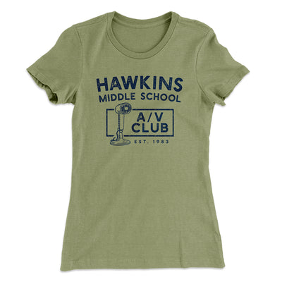 Hawkins Middle School A/V Club Women's T-Shirt-Solid Light Olive - Famous IRL