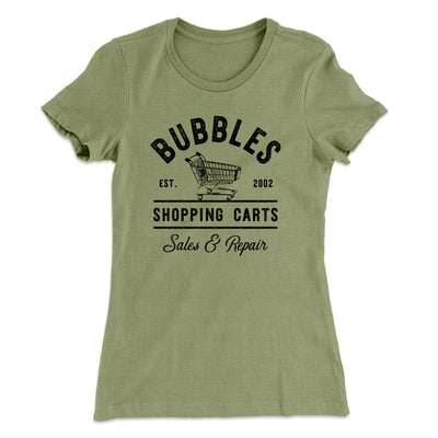 Bubbles Shopping Carts Women's T-Shirt-Solid Light Olive - Famous IRL