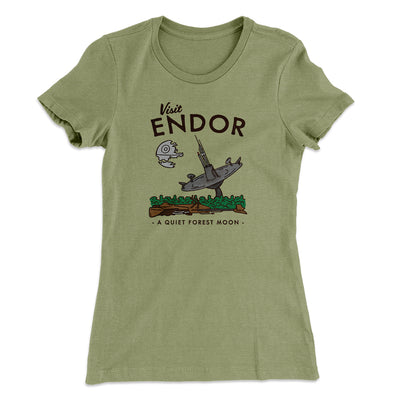 Visit Endor Women's T-Shirt-Solid Light Olive - Famous IRL