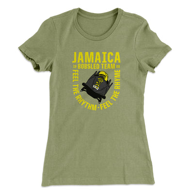 Jamaica Bobsled Team Women's T-Shirt-Solid Light Olive - Famous IRL