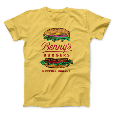 Benny's Burgers Men/Unisex T-Shirt-Maize Yellow - Famous IRL